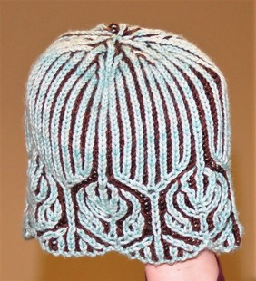 Brioche hat in brown and pale icy blue