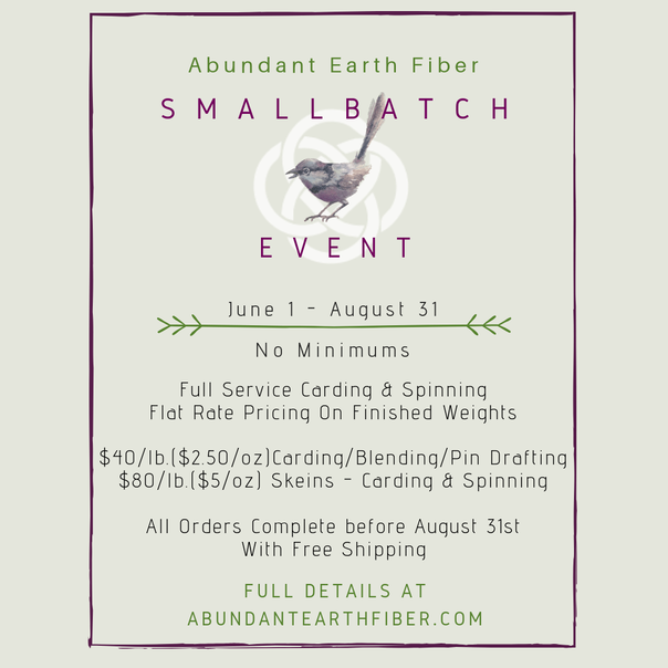 Abundant Earth Fiber small batch carding and spinning event flyer